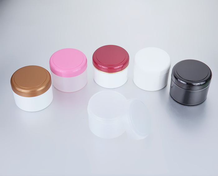 250g large plastic cosmetic jars with colorful lids